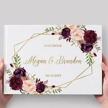 Wedding Guest Book alternativa Personalizado Guestbook Do Casamento Borgonha Ouro Floral Personalizado Álbum De Fotos Do Casamento Sinal De Casamento Em