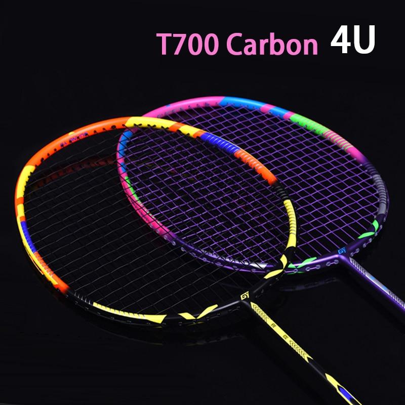 Professional Strung 4U Ultralight Full Carbon Fiber Badminton Rackets With Strings Bags Padel Racket Sports Raquetas