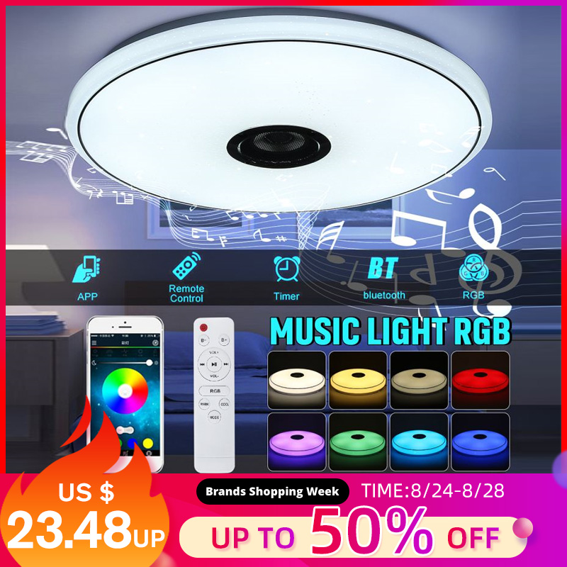 36W 60W 6500K RGB LED Ceiling Lights Modern Music Lamp Living Room Bedroom Kitchen Lighting Fixture Surface Mount Remote Control