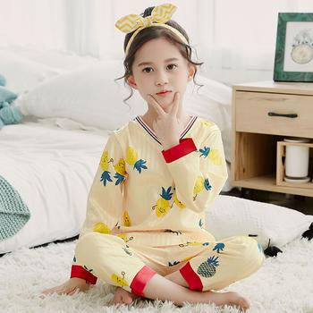 Girls Pajamas Set 2020 Autumn Winter Long Sleeve Children #8217 s Sleepwear Set Silk Pajamas Set Gift Girls Pyjamas Sets for Kids Set tanie i dobre opinie WAVMIT Drukuj V-neck Dziewczyny Pełne REGULAR us size 3 4 5 6 7 8 9 10 11 12 13 14 Dobrze pasuje do rozmiaru wybierz swój normalny rozmiar