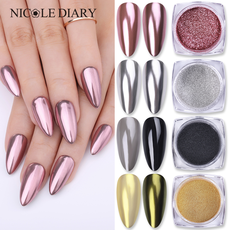1 Box Mirror Glitter Nail Chrome Pigment  Silver Rose Gold Powder Nail Glitter Nail Art Decorations  Tool