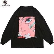 Aolamegs – sweat-shirt Harajuku pour hommes et filles, imprimé de dessin animé Otaku, surdimensionné, Style collège, rue, Streetwear pour Couple