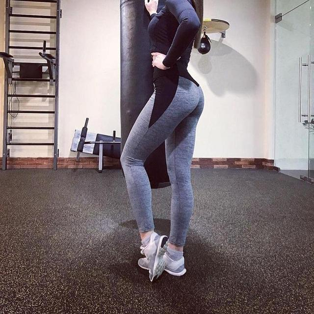 Black Gray Patchwork Fitness Leggings Women's High Waist Push Up Skinny Pants Elasticity Workout Thick Leggings For Women  1