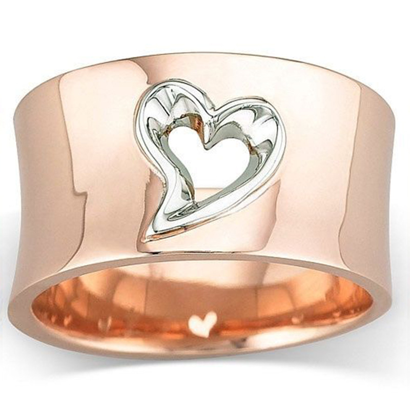 Rose Gold Sliver Two-tone Hollow Heart Rings For Women Fashion Jewelry Bridal Promise Wedding Ring