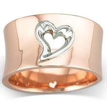 Oro rosa plata dos tono corazón hueco anillos para las mujeres joyas a la moda para novia anillo de bodas prometedor