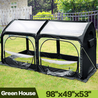Pop up Greenhouse Eco Friendly Fiberglass Poles Overlong Cover 6 Stakes 98 x 49 x 53 In Mini Portable Green House 4 Zipper Doors