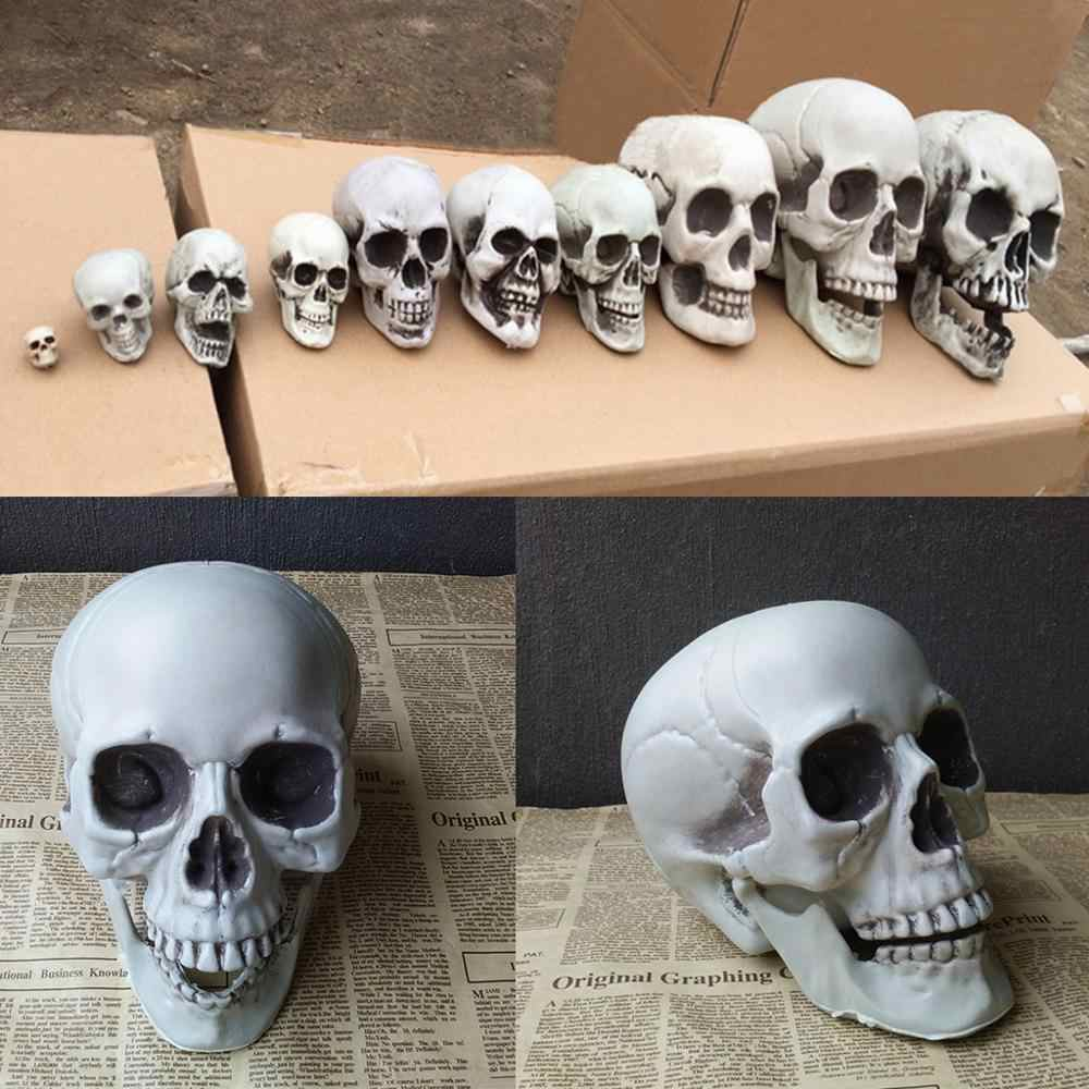 Halloween Decorations Artificial Skull Head Model Plastic Skull Bone Scary Horror Skeleton Party Bar Ornaments Statues