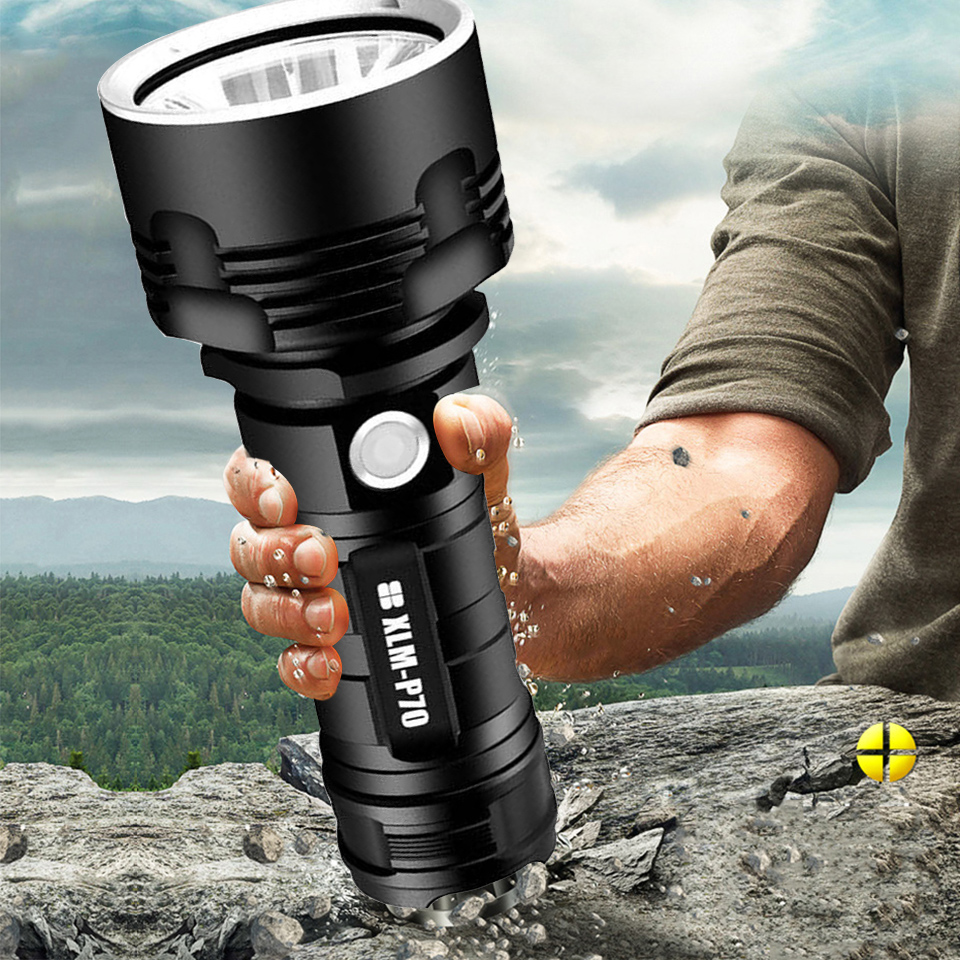 YB07 XHP70 Super ไฟฉาย LED ที่มีประสิทธิภาพ XM-L2 ยุทธวิธีไฟฉาย USB ชาร์จ Linterna โคมไฟกันน้ำ Ultra Bright โคมไฟ