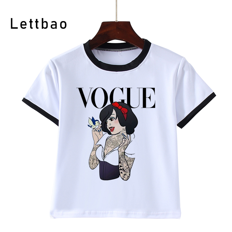 Fashion Print Children Funny T-Shirts Kids Princess Cool Tees Boys/Girls Cartoon Casual Tops Baby Clothes 3 To 14 Years