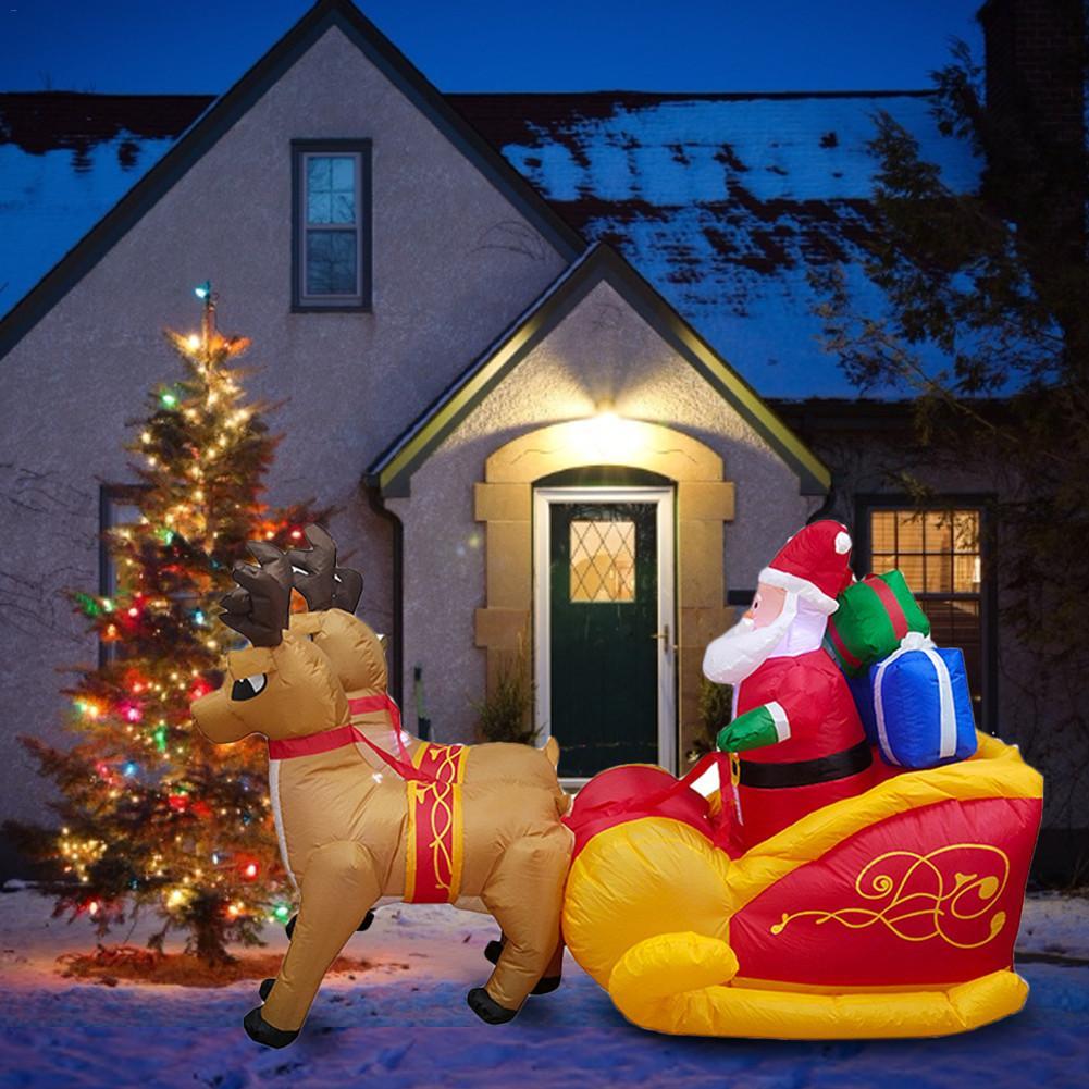 Natal inflável elk trenó papai noel natal ao ar livre ornamentos natal festa de ano novo casa loja quintal decoração do jardim - 5
