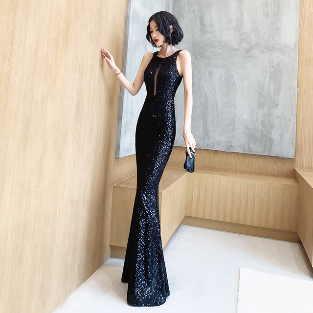It's Yiiya Evening Dresses For Girls Black Sequined Formal Evening Dresses Sleeveless Halter Mermaid Long Evening Gowns K098 2