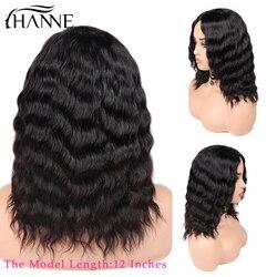 Волосы hanne, человеческие волосы, парики, свободные, глубокая волна, парики, средняя часть, 100% бразильские волосы Remy, бесклеевой парик, натурал...