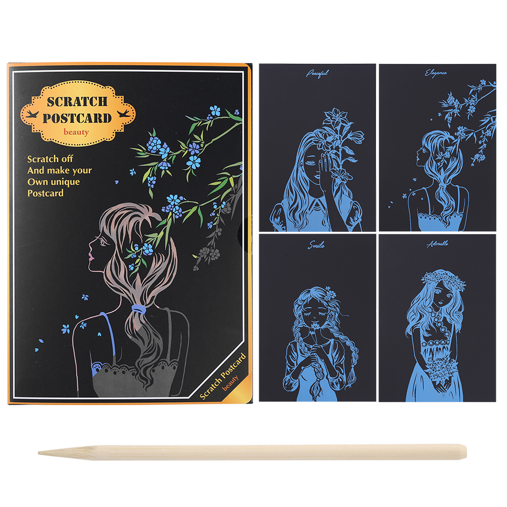Scraping Painting DIY Flower Girl Magic Postcard Scratch Art Doodle Puzzle Educational Learning Handmade Drawing Toys Craft Gift