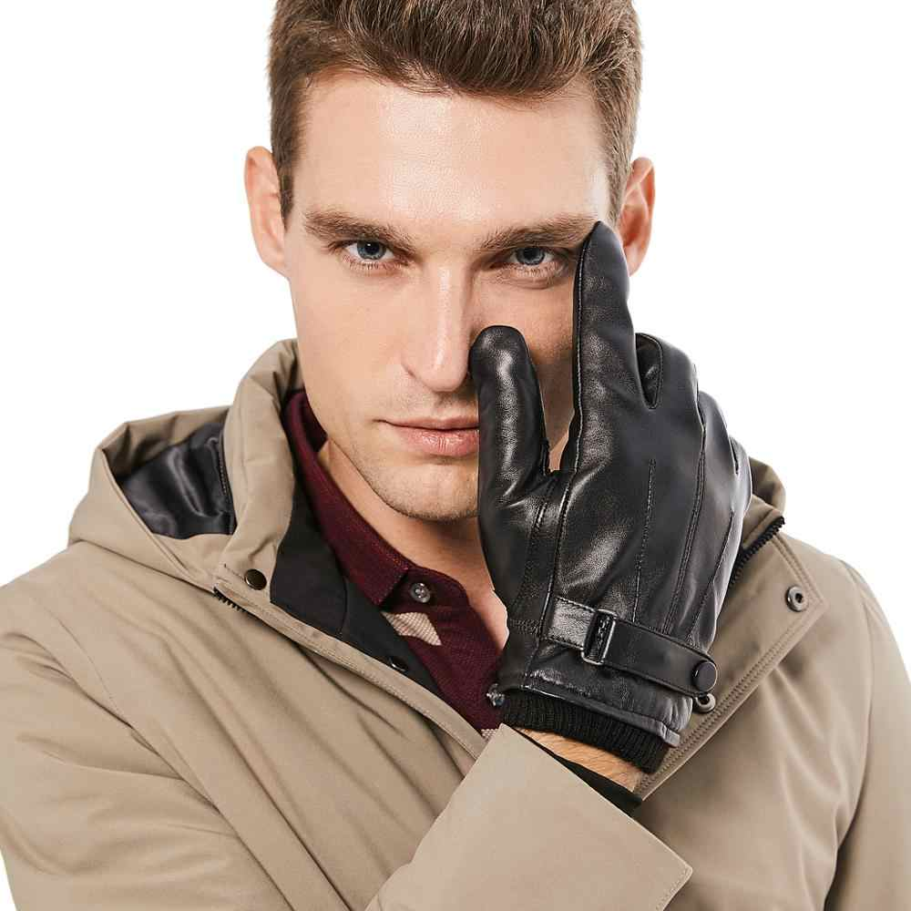 Image result for ALIEXPRESS BISON DENIM Men Genuine Sheepskin Leather Gloves Autumn Winter Warm Touch Screen Full Finger Black Gloves High Quality S019