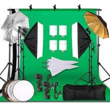 Kit d'éclairage de photographie 2.6x3M fond Photo mousseline décors & Softbox & parapluie & réflecteur & support de lumière pour Studio Photo