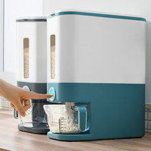 Automatic Cereal Dispenser Plastic Storage Box Measuring Cup Kitchen Food Tank Rice Container Organizer Grain Storage Cans
