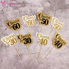 Black Gold Cheers 30 40 50 60 Ano Velho Papel Cupcake Topper 30th 40th 50th 60th Feliz Aniversário Decorações Do Partido suprimentos para adultos