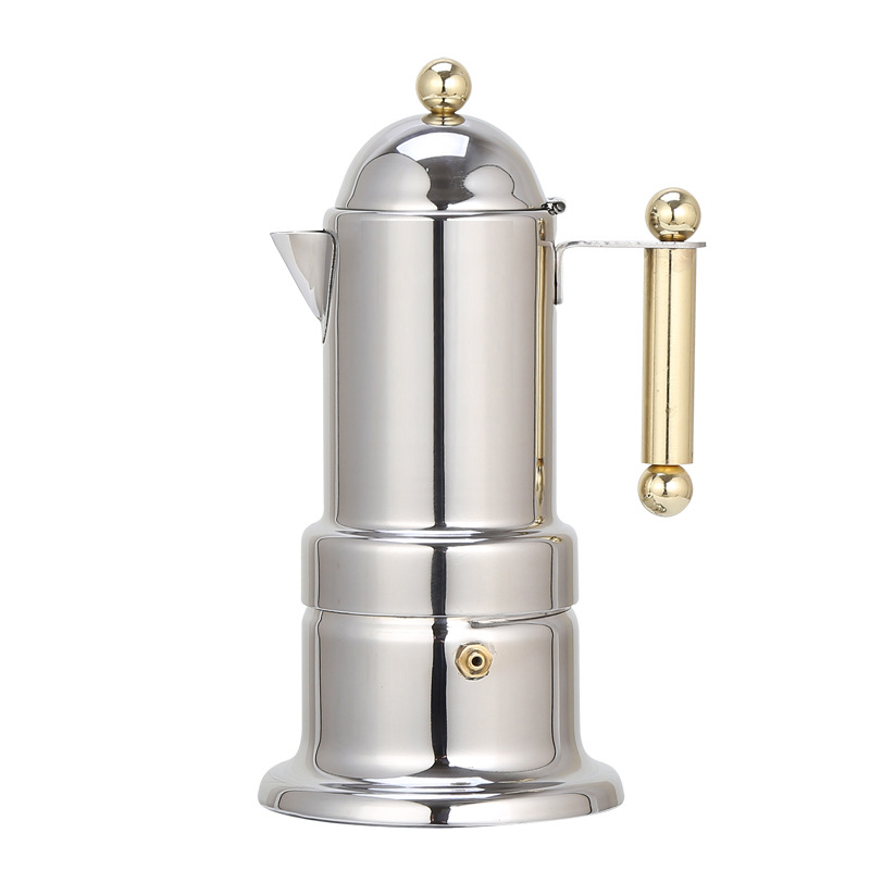 Stainless Steel 304 Pagoda Pot Foreign Trade Coffee Set Electromagnetic Furnace Heating Mocha Coffee Pot