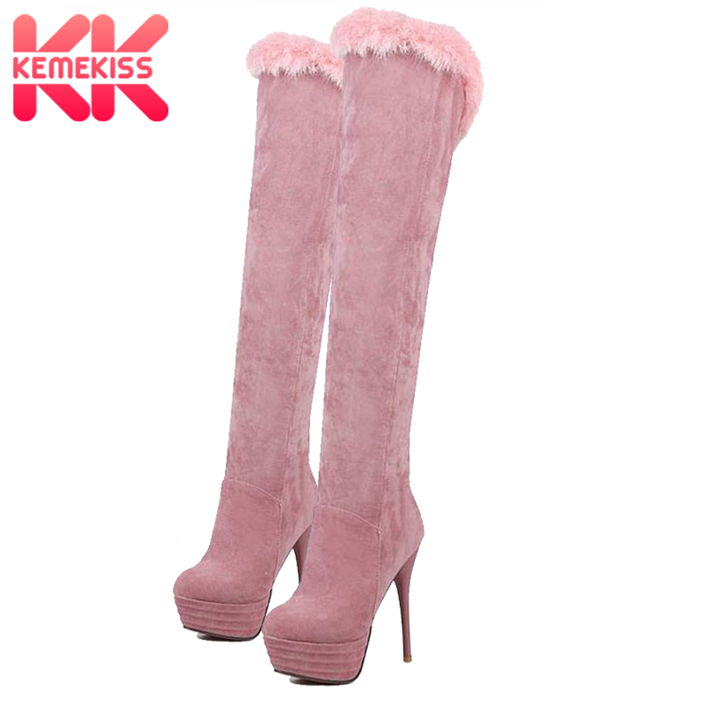 KemeKiss Women Platform High Heel Boots Zipper Over Knee Boots Round Toe Warm Fur Shoes Women Office Lady Footwear Size 33-43