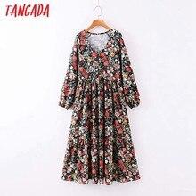 Moda de mujer Tangada Vintage bohemio, vestido estampado de flores, manga larga, holgado, Midi, SL239