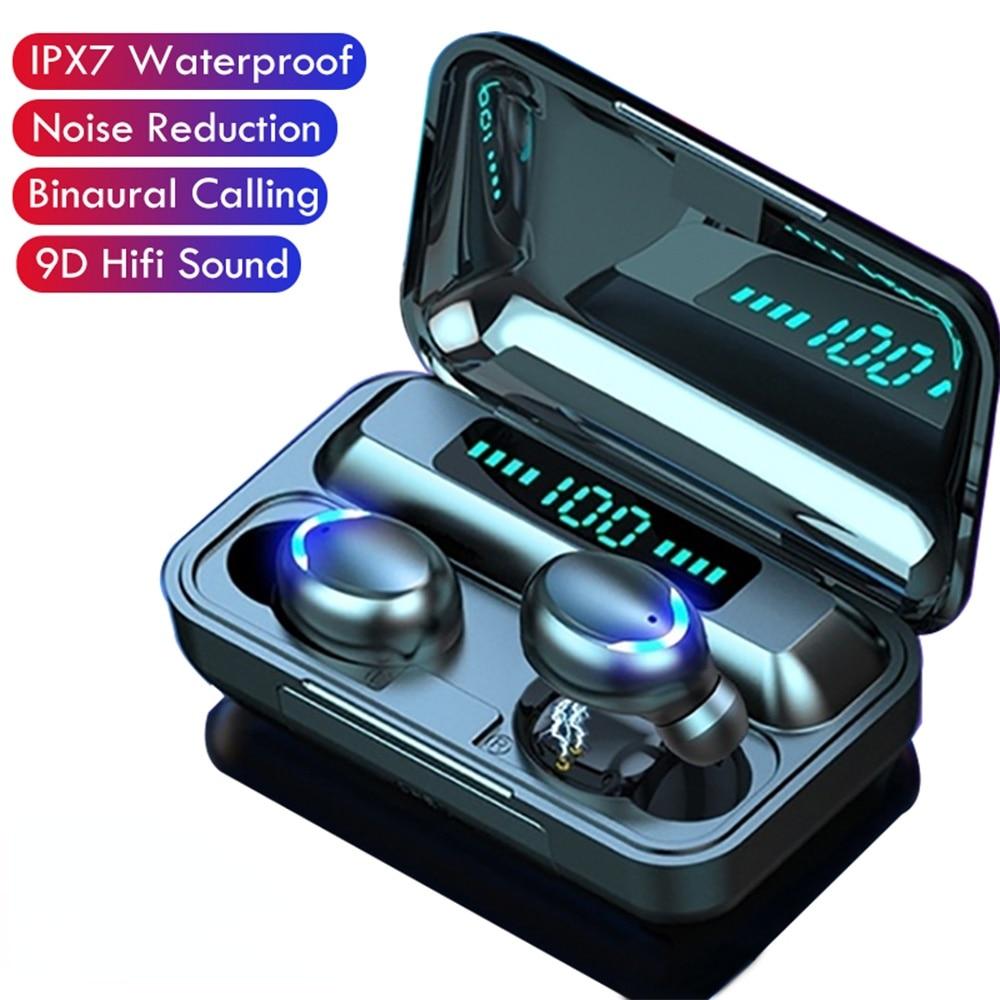 F9 TWS Earphone V5.0 Stereo Wireless Headset Waterproof Sport Bluetooth-compatible Earphones Mini Touch Control Noise Cancelling