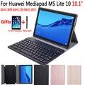 Чехол с клавиатурой Bluetooth на английском  испанском  русском  для huawei Mediapad M5 Lite 10 10 1  BAH2-W09  BAH2-L09  чехол для BAH2-W19 + подарок