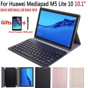 Image 1 - الإنجليزية الإسبانية الروسية بلوتوث لوحة المفاتيح حالة لهواوي Mediapad M5 لايت 10 10.1 BAH2 W09 BAH2 L09 BAH2 W19 غطاء فوندا + هدية