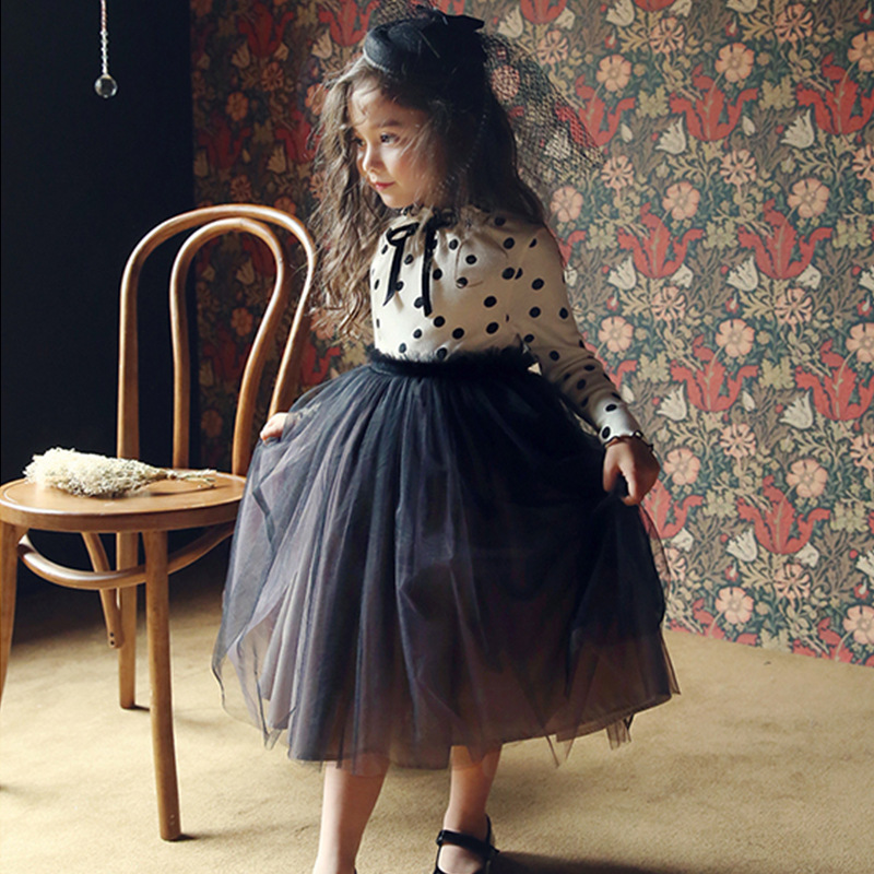 3-8 Years Autumn Dress For Girls Flower Lace Long Sleeve Backless Tulle Dresses Wedding Party Princess Bridesmaid  Formal Gown 5