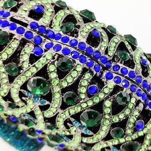 Image 4 - Boutique De FGG Green Crystal Women Peacock Clutch Evening Bag Party Minaudiere Handbag Wedding Clutches Bridal Diamond Purse