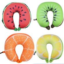 과일 U 모양의 여행 베개 Nanoparticles 목 베개 수박 레몬 키위 오렌지 자동차 베개 부드러운 쿠션 홈 섬유