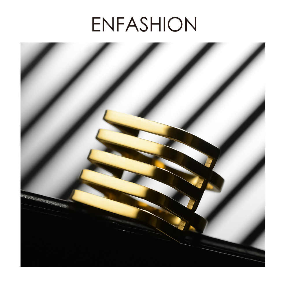 ENFASHION Punk 5 Rows Layered Ring Gold Color Stainless Steel Minimalist Geometric Finger Rings For Women Fashion Jewelry R4017