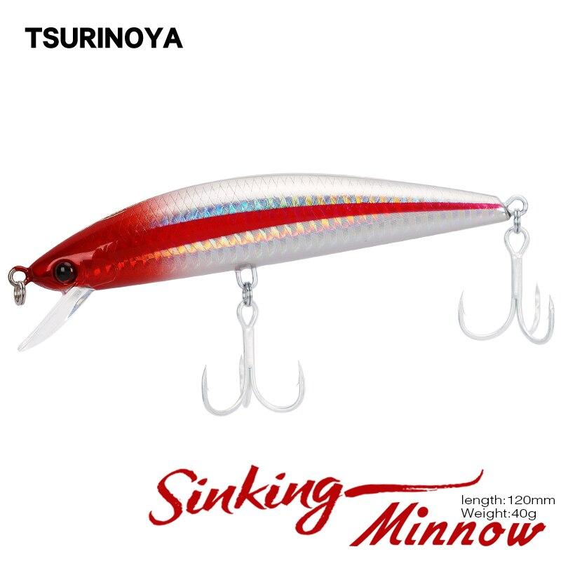 TSURINOYA Fishing Lure DW37 Sinking MINNOW 120mm 40g Depth 2m Artificial Hard Bait Salt Water Lure 6 Colors