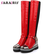 SARAIRIS New Big Size 34-43 Girls Fashion Height Increasing Knee High Boots Women Winter Add Fur Platform Shoes Woman