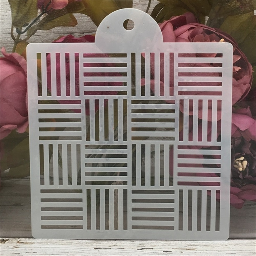 1Pcs 6inch Three Line Square DIY Layering Stencils Wall Painting Scrapbook Coloring Embossing Album Decorative Card Template