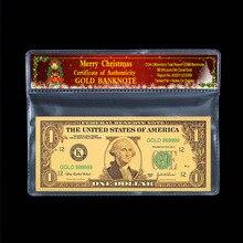 Коллекционный сувенир в долларах 1 доллар 24k позолоченные рождественские украшения пластиковый документ в рамке подарок 2 шт./компл