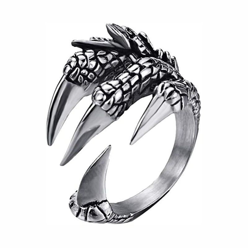 2021 New Retro Dragon Claw Ring Male Women Unisex Adjustable Rings Punk Men's Jewelry Accessories Cool Men's Ring Party Gift