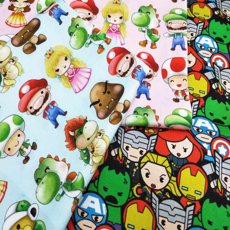 145cm Width Super Mario Bros Princess Pink Cotton Fabric for Baby Girl Clothes Hometextile Bedding Set Cushion Cover DIY