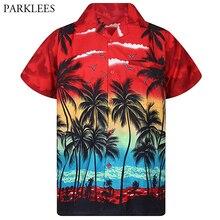 Mens Red Hawaiian Shirt Fashion Palm Tree Printed Beach Wear Shirts Mens Casual Button Down Tropical Aloha Shirt Camisa Hawaiana