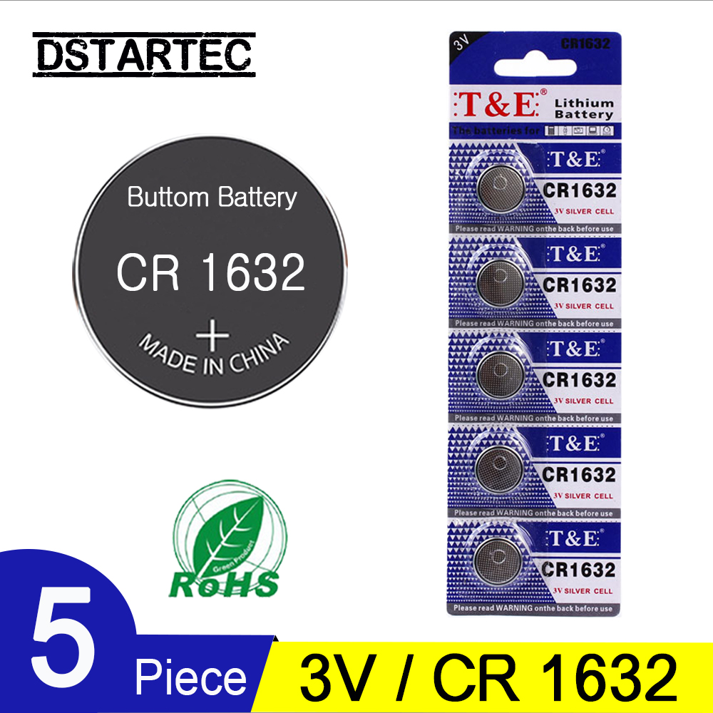 5PCS=1 Card 30mAh CR1632 3V Cell Coin Button Batteries CR1632 CR 1632 ECR1632 DL1632 KCR1632 LM1632 KL1632 Lithium Battery