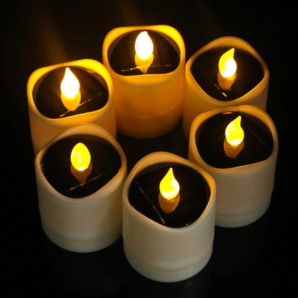 High Quality Waterproof Solar Powered LED Candles Flameless Electronic Tea Lights Lamp Festival Wedding Romantic Decor Dropship