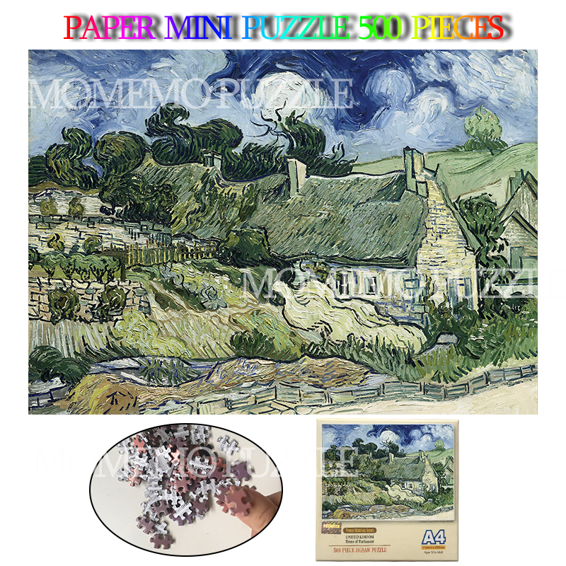 Thatched Cottages At Cordeville Paper Jigsaw 500 Pieces Puzzle Van Gogh Oil Painting Adults Kids Puzzles Toys Brain Challenge