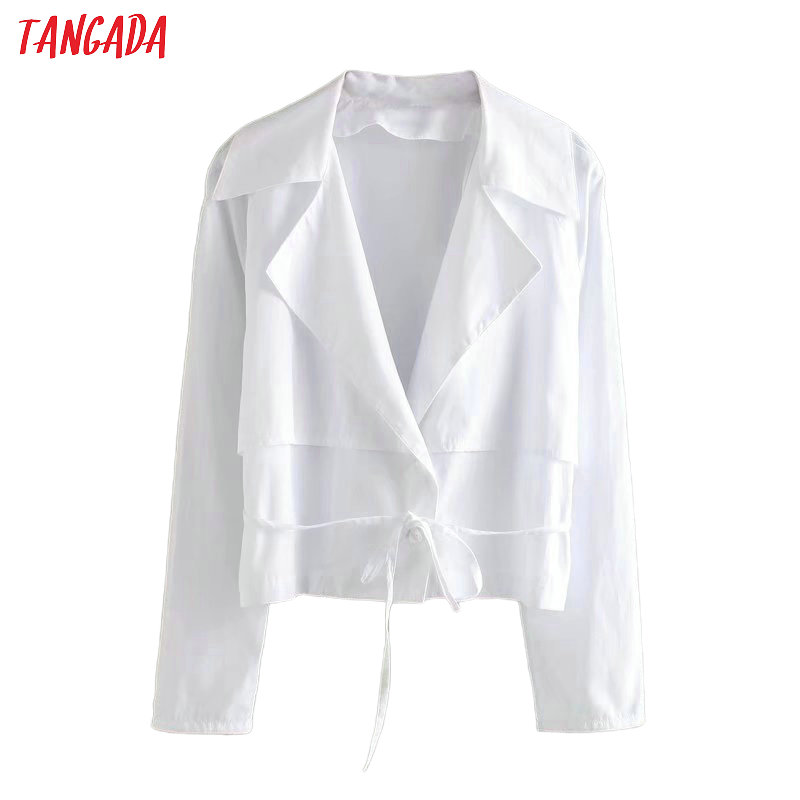 Tangada Women Loose White Shirts With Slash Long Sleeve Solid Elegant Office Ladies Work Wear Blouses 4Q36