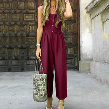 купить Womens Casual Summer Bodysuit Solid With Buttons Casual Jumpsuit Shoulder Strap Bandagws Sexy Jumpsuit дешево