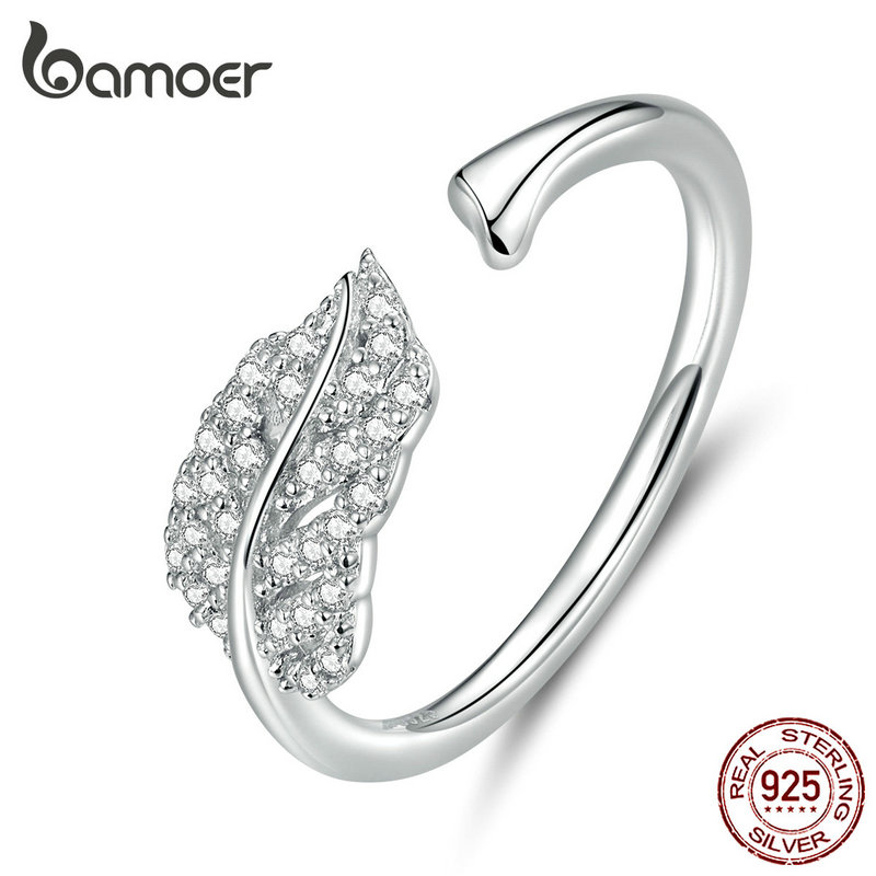 Bamoer Silver 925 Jewelry Clear CZ Leaf Finger Rings For Women Open Adjustable Wedding Statement Jewelry Free Size Gifts SCR614