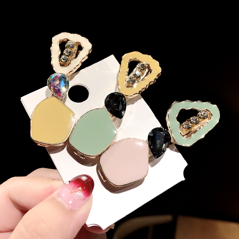 2019 New Women Girls Cute Acetate Drop Glaze Geometric Hairpins Sweet Headband Barrettes Hair Clips Fashion Hair Accessories