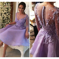 Chic Lavender Short Prom Dress A-Line Half Sleeves Juniors Sweet 15 Graduation Cocktail Party Dress Plus Size Homecoming Gowns