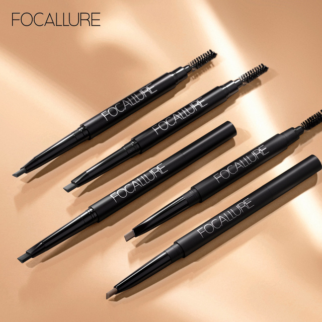 FOCALLURE Eyebrow Pencil 3 Colors Soft And Smooth Automatic Waterproof Natural 1pc Eye brow with brush Makeup tools