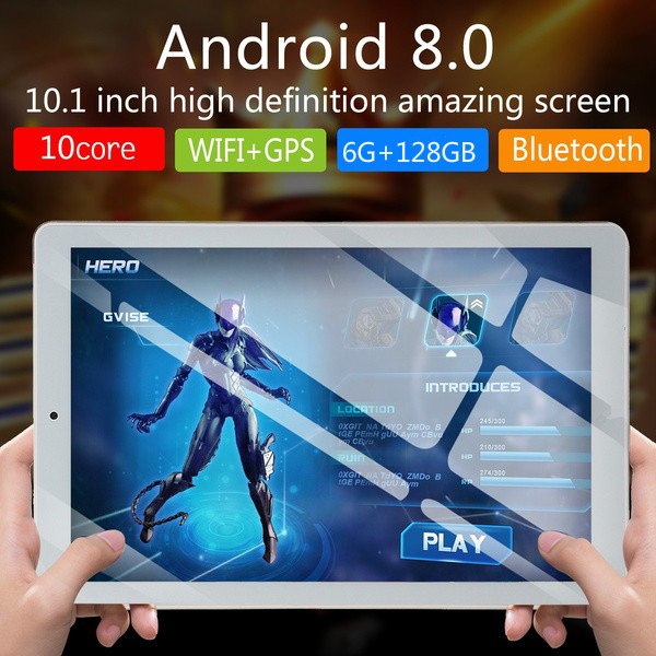 2020 Newest WiFi Tablet PC 10.1 Inch Ten Core 4G Network Android 8.1 Dual SIM Dual Camera  4G Call Phone Tablet Gifts( 6G+128G)