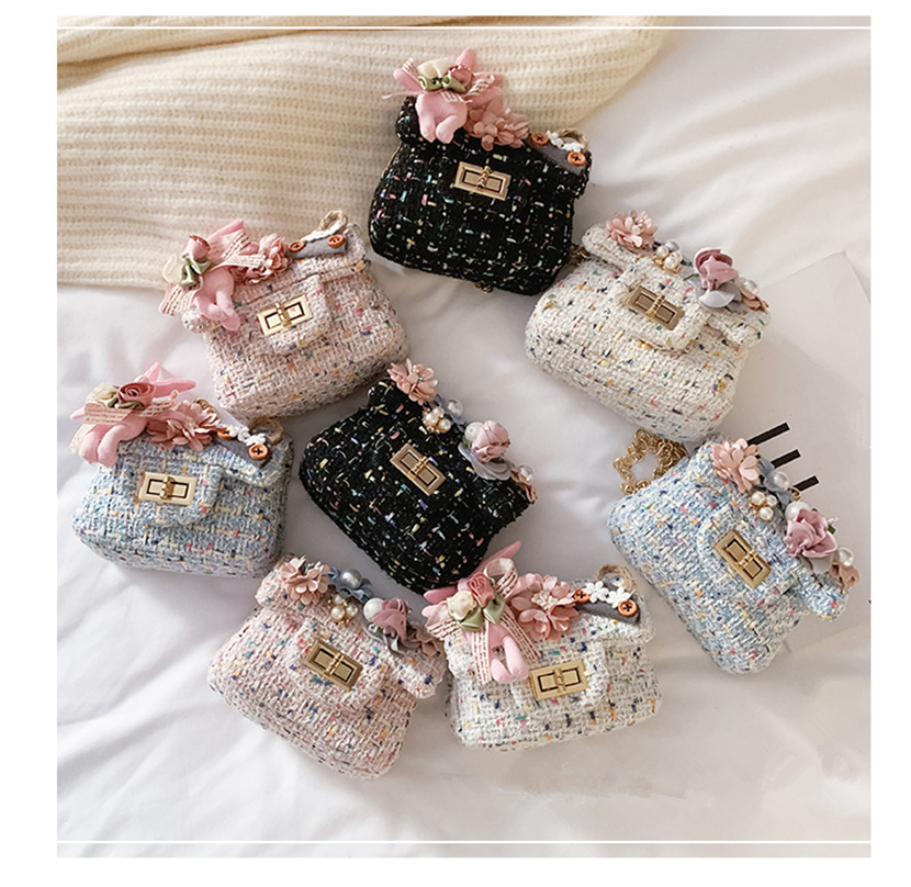 Girl's Mini Stereo Flower Chain Bag Children's Knitted Coin Purse