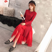 Woman Dress Layered Mesh Patchwork Asymmetrical Hem Design One Piece Autumn Chic Classy Long Sleeve Lacing Up Waist Knit Dresses contrast binding asymmetrical hem knit tee
